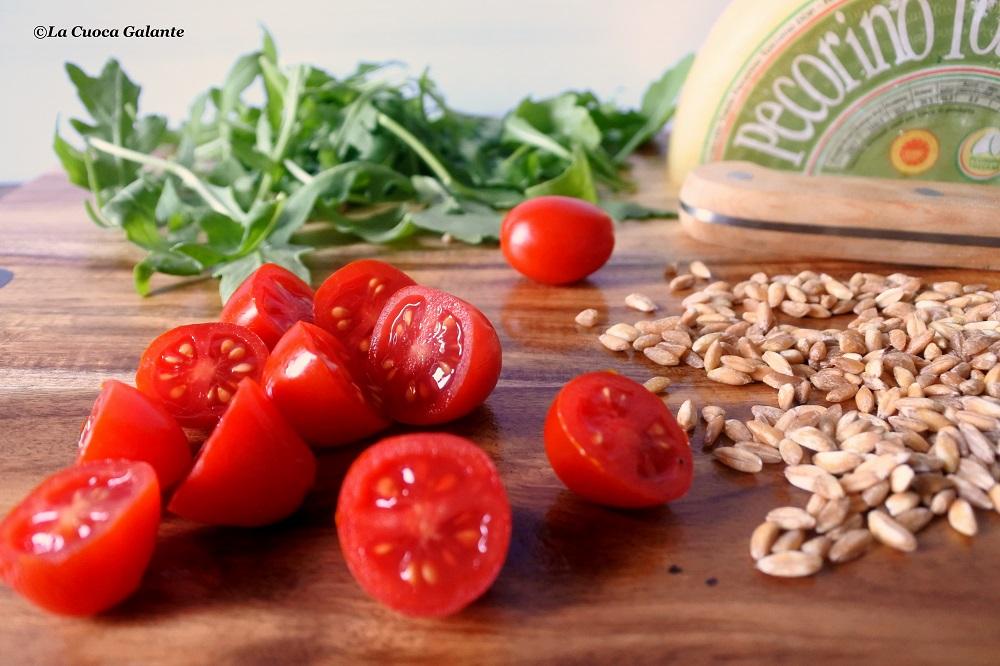 insalata di farro con pomodorini rucola e pecorino toscano dop